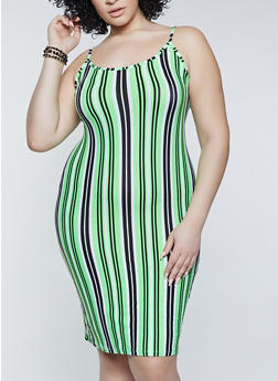 Plus Size Vertical Striped Cami Dress - 1390038340956