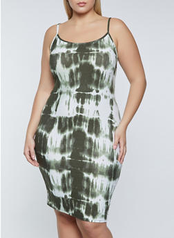 Plus Size Tie Dye Cami Dress - 1390038340958