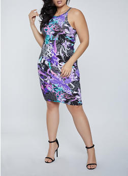 Plus Size Floral Newspaper Print Bodycon Dress - 1390038340961