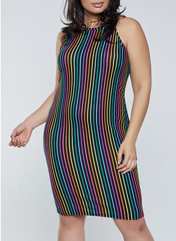 Plus Size Striped High Neck Dress - 1390038340962