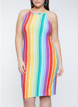 Plus Size Rainbow Striped Bodycon Dress - 1390038340964