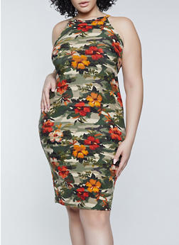 Plus Size Camo Floral Bodycon Dress - 1390038340970