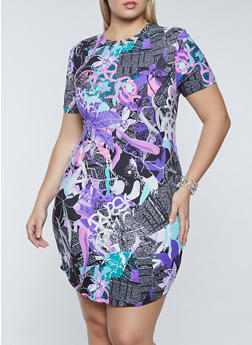Plus Size Floral Newspaper Print T Shirt Dress - 1390038340973
