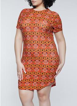 Plus Size Printed T Shirt Dress - 1390038340974