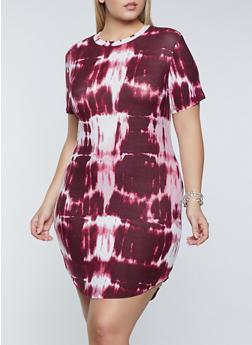Plus Size Tie Dye T Shirt Dress - 1390038340975