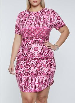 Plus Size Printed Soft Knit T Shirt Dress - 1390038340977