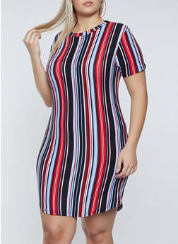 Plus Size Striped Crew Neck T Shirt Dress - 1390038340978
