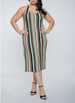 Plus Size Multi Striped Tank Dress - 1390038340988