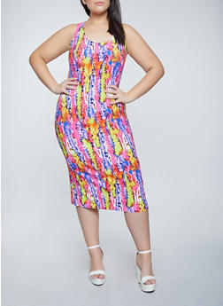 Plus Size Printed Soft Knit Midi Tank Dress - 1390038340990