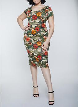Plus Size Floral Camo T Shirt Dress - 1390038340993