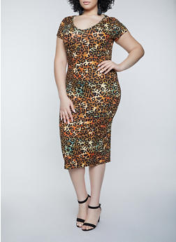 Plus Size Leopard Slashed Back T Shirt Dress - 1390038340994