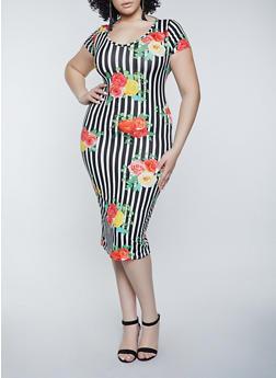 Plus Size Floral Striped Slashed T Shirt Dress - 1390038340996