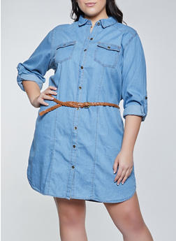 Plus Size Tabbed Sleeve Denim Shirt Dress - 1390038341707