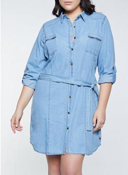 Plus Size Zip Pocket Denim Shirt Dress - 1390038341710