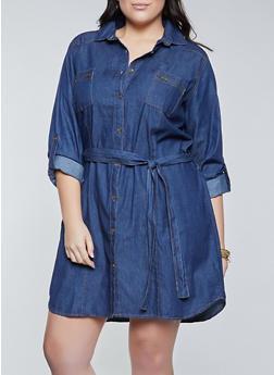Plus Size Zip Pocket Denim Shirt Dress - 1390038341710