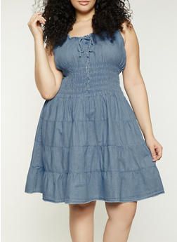 Plus Size Denim Peasant Dress - 1390038341712