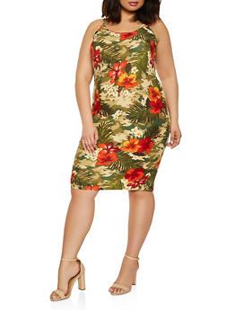 Plus Size Floral Camo Cami Dress - 1390038341833