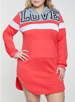 Plus Size Love Color Block Sweatshirt Dress - 1390038343908