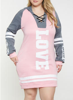Plus Size Love Lace Up Sweatshirt Dress - 1390038343909