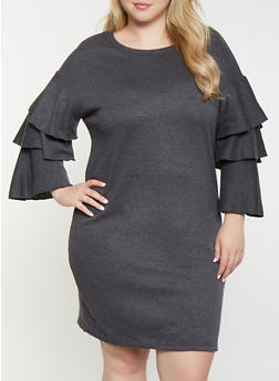 Plus Size Tiered Sleeve Sweatershirt Dress - 1390038343920