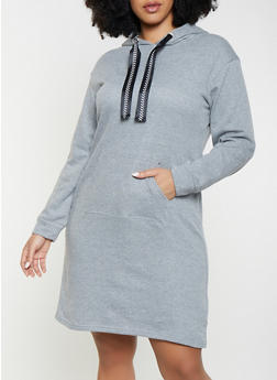 Plus Size Hooded Sweatshirt Dress - 1390038343921