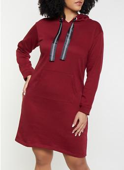 Plus Size Hooded Sweatshirt Dress - 1390038343921