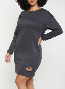 Plus Size Distressed Sweatshirt Dress - 1390038343922