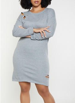 Plus Size Distressed Sweatshirt Dress - 1390038343922