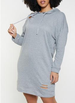 Plus Size Distressed Hooded Sweatshirt Dress - 1390038343923