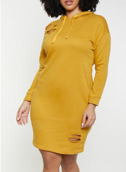 Plus Size Distressed Hooded Sweatshirt Dress - 1390038343923