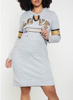 208188f09fa Plus Size Love Keyhole Sweatshirt Dress - 1390038343930