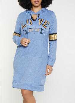 Plus Size Love Keyhole Sweatshirt Dress - 1390038343930