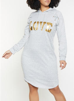 Plus Size Love Foil Graphic Sweater Dress - 1390038343933