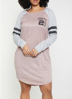 Plus Size Addicted 2 Love T Shirt Dress - 1390038343936