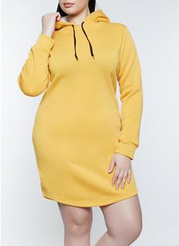 Plus Size Sherpa Lined Hood Sweatshirt Dress - 1390038344952