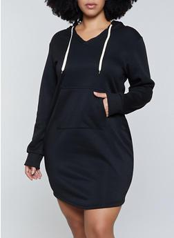 Plus Size Fleece Lined Sweatshirt Dress - 1390038344953