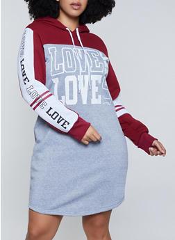 Plus Size Love Graphic Color Block Sweatshirt Dress - 1390038344954