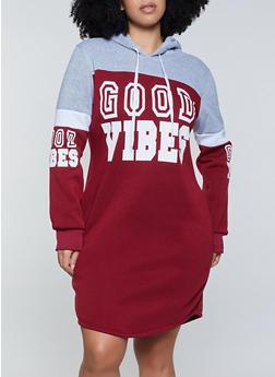 Plus Size Good Vibes Sweatshirt Dress - 1390038344955