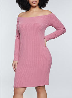 Plus Size Ribbed Off the Shoulder Dress - 1390038344962
