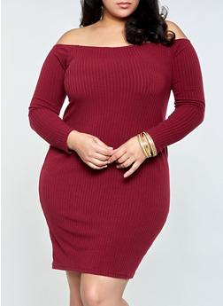 Plus Size Ribbed Off the Shoulder Dress - 1390038344962