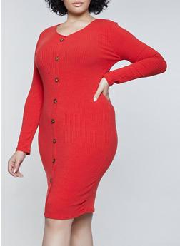 Plus Size Solid Rib Knit Bodycon Dress - 1390038344964