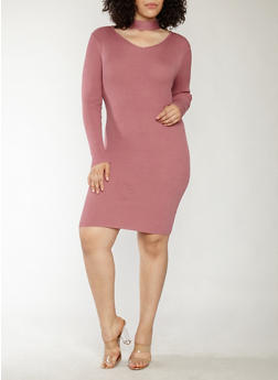Plus Size Rib Knit Keyhole Neck Sweater Dress - 1390038347364