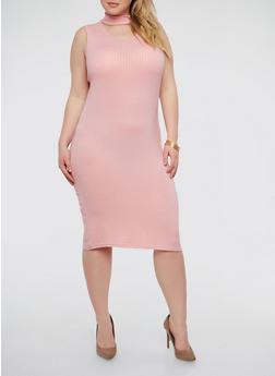 Plus Size Rib Knit Choker Neck Dress - 1390038347816