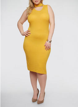 Plus Size Rib Knit Choker Neck Dress - 1390038347816