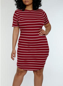 Plus Size Striped Ribbed Knit Dress - BURGUNDY - 1390038348701