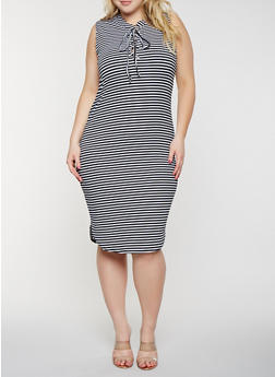Plus Size Striped Lace Up Tank Dress - 1390038348703