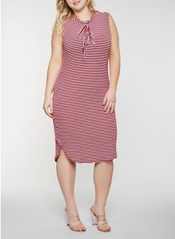 Plus Size Striped Lace Up Tank Dress - 1390038348703