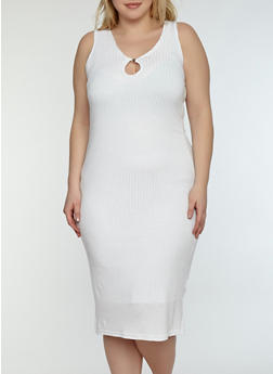 Plus Size Keyhole Midi Dress - WHITE - 1390038348708