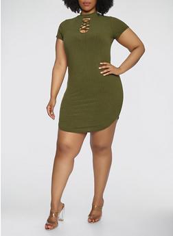 Plus Size Ribbed Knit Choker Neck Dress - 1390038348714