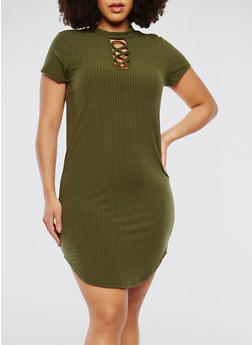 Plus Size Ribbed Knit Short Sleeve Choker Neck Dress - 1390038348714